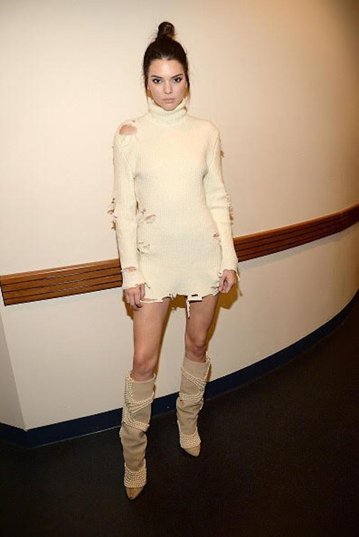 kendall-jenner-yeezy-season3-cream-distressed-long-sleeve-turtle-neck-sweater-dress